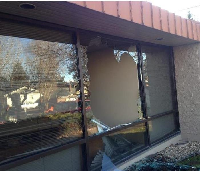 High Winds Cause Commercial Window to Break