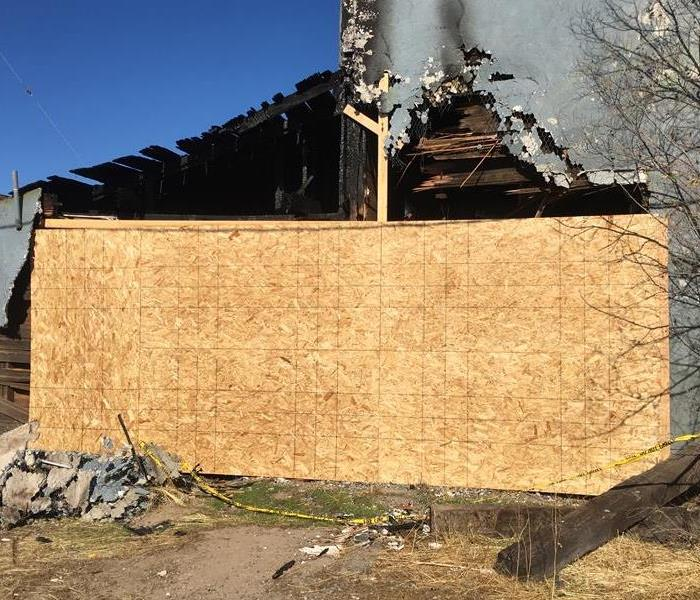 Board Up Fire Damage In Metolius, Oregon