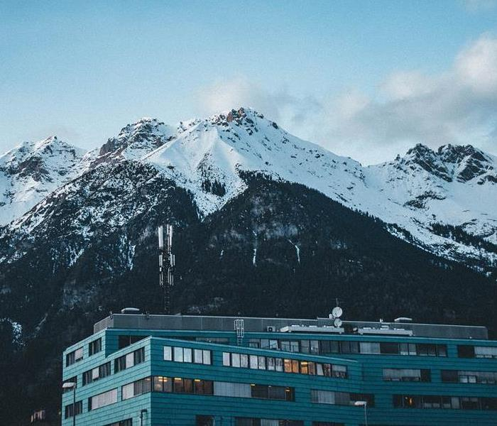 Commercial building by mountain